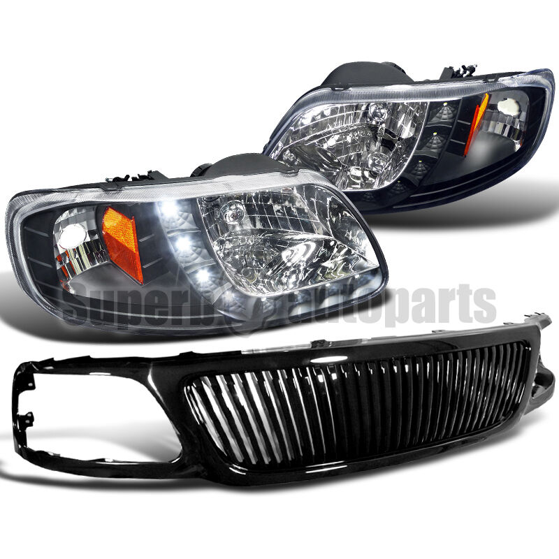 1999 Ford F150 Headlights >> 1999-2003 Ford F150 SMD LED DRL Headlights+Vertical Hood Grille Glossy Black | eBay