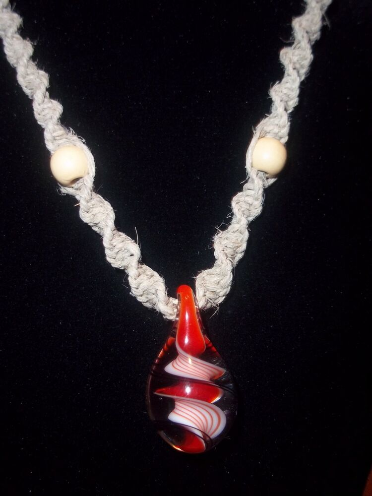 New Hand Crafted Hemp Necklace With Quot Hand Blown Quot Red And