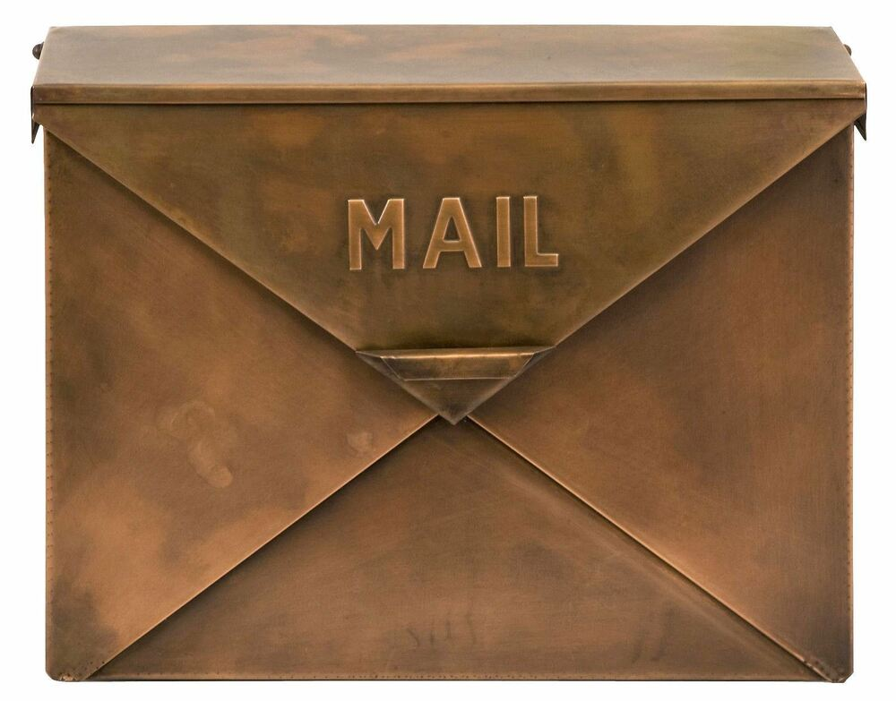 retro style copper finish large metal mailbox rustic envelope style wide ebay. Black Bedroom Furniture Sets. Home Design Ideas