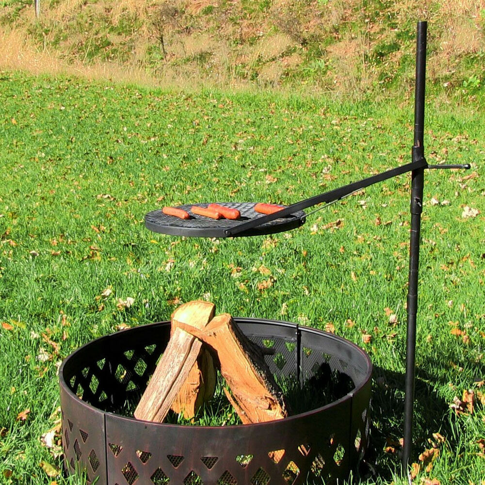 Height Adjustable Rotating Outdoor Campfire Fire Pit Cooking Grill Grate |  EBay