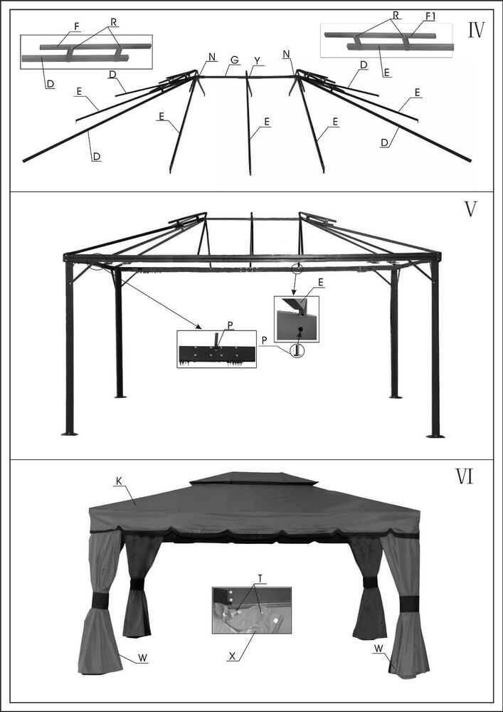 Replacement Canopy For Gazebo Sojag Bellagio 10x12 Ebay