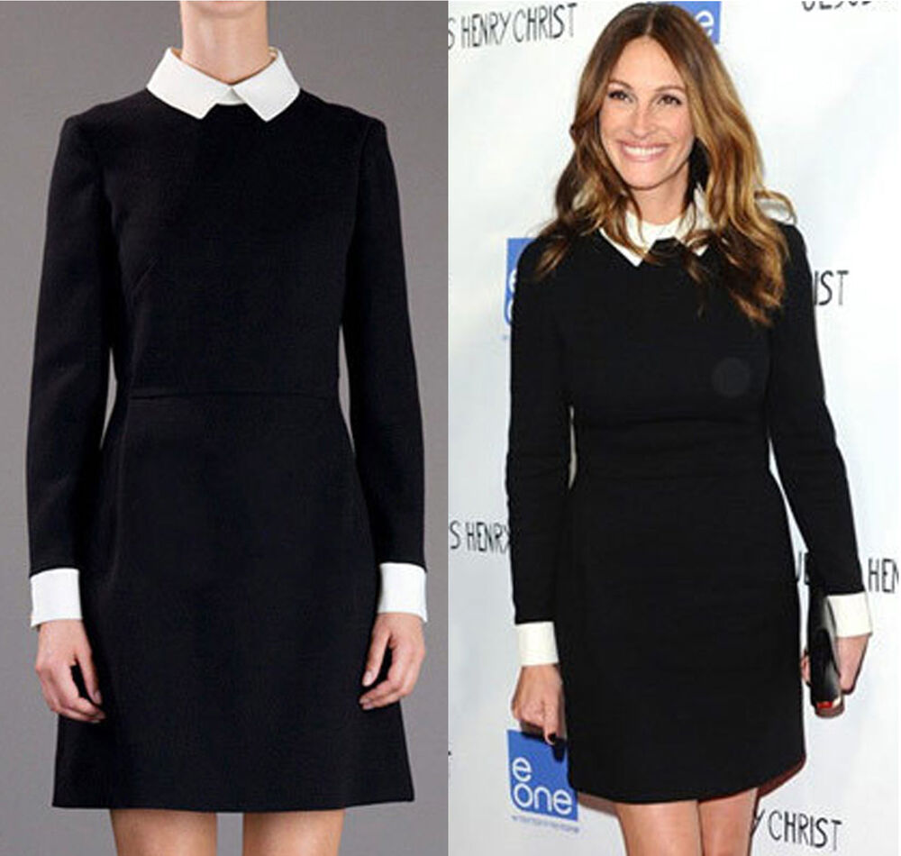 Womens Black Block Shift White Collar Cuff Fit Long Sleeve Peter Pan Mini Dress Ebay