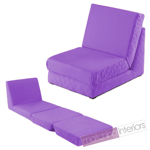 Purple Folding Z Bed Single Chair Bed 2 Seat Sofa Fold Out
