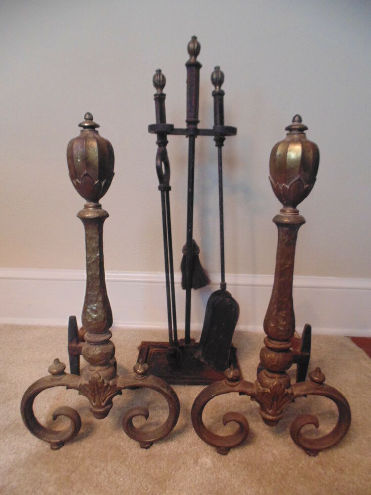 Antique Bradley Hubbard Matching Cast Iron Andirons Fireplace Tool Set Ebay