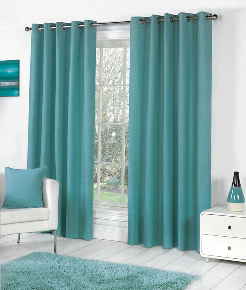 ... Dyed Heavy Cotton Eyelet Ring Top Lined Curtains, Teal Green | eBay