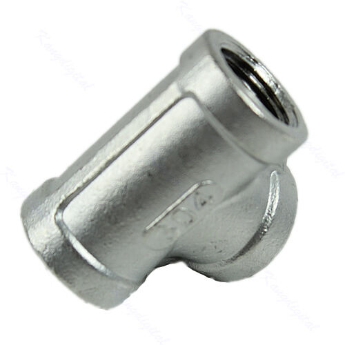 New tee quot way female stainless steel pipe fitting