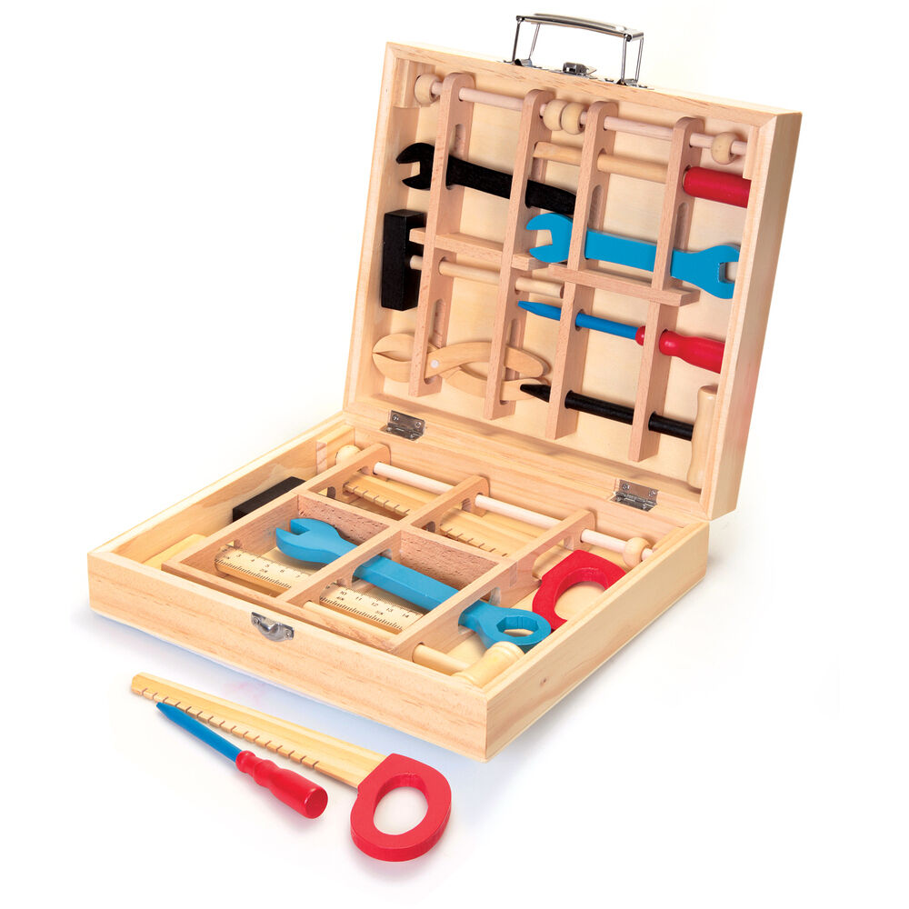 Children Kids My First Wooden Tool Box Play Toolbox Set