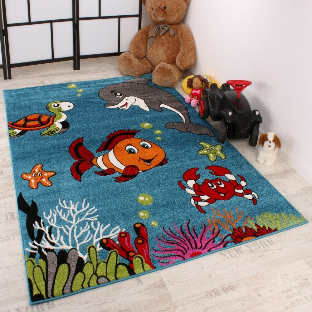 kinderteppich clown fisch aqua kinderzimmer teppich in. Black Bedroom Furniture Sets. Home Design Ideas