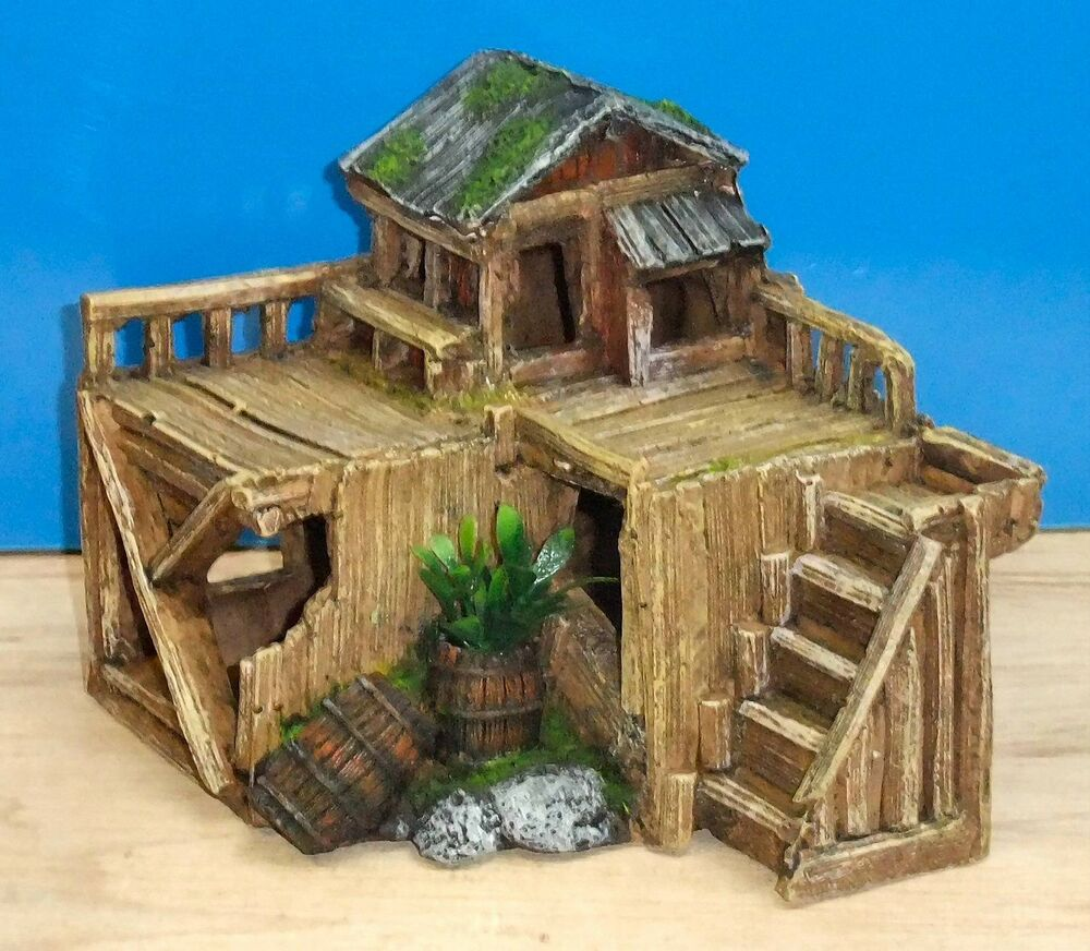 Wooden house hut aquarium ornament fish tank bowl for Aquarium house decoration