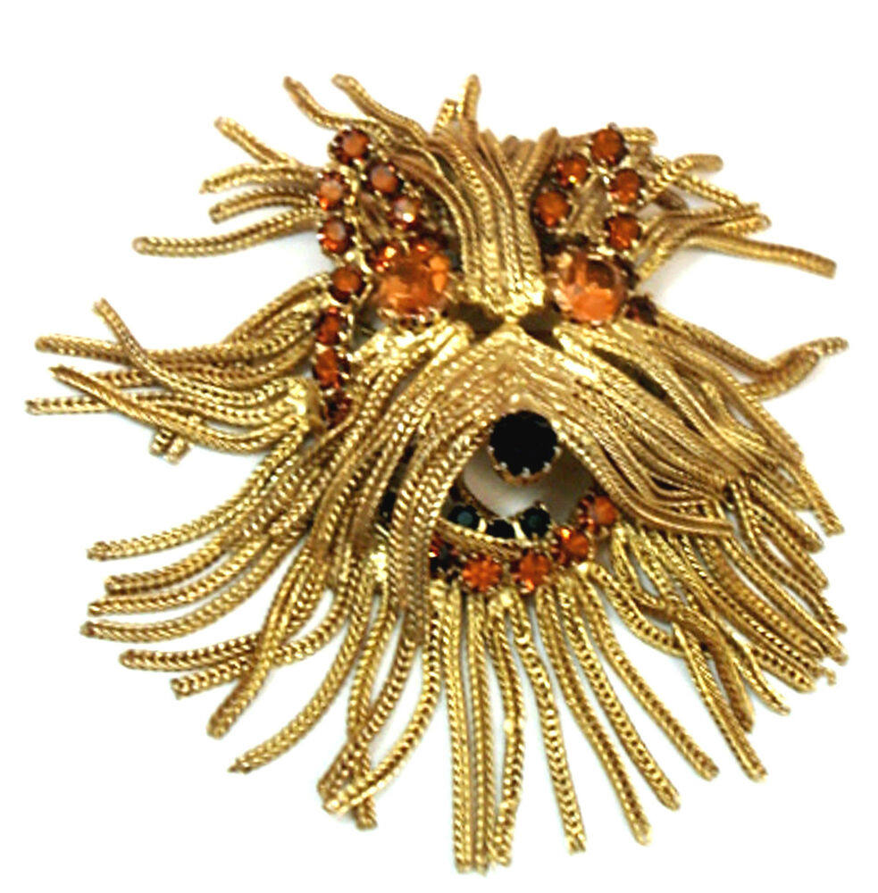 Vintage Costume Jewelry Shaggy Dog Fringed Pin Brooch
