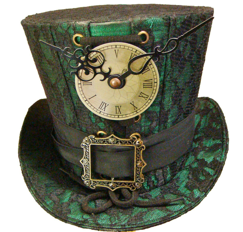 steampunk madhatter hand made greenblack lace top hat ebay