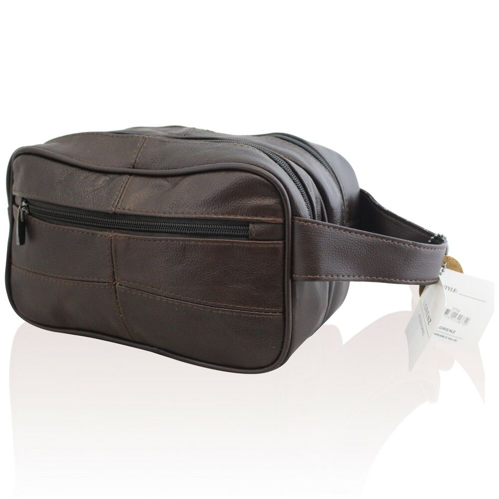 new mens leather toiletry travel wash bag travel kit