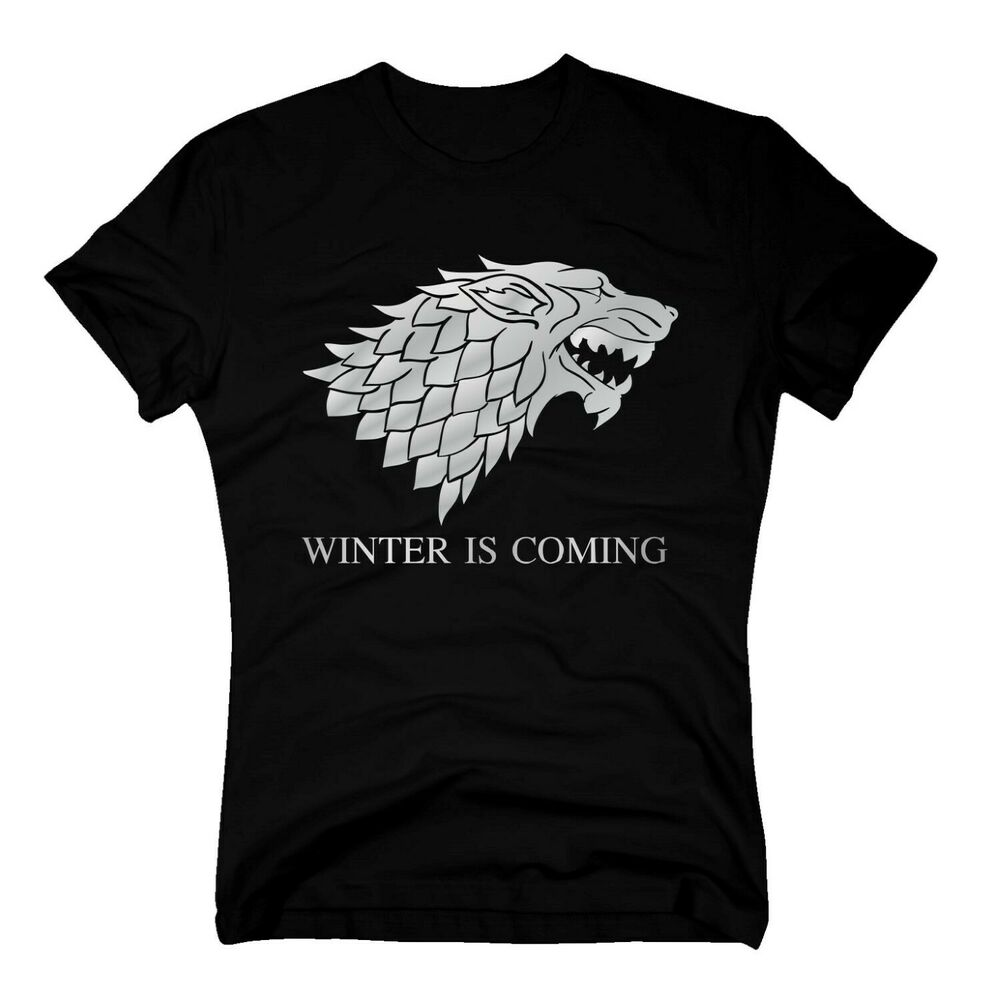 t shirt game of thrones winter is coming dire wolf schattenwolf stark s 5xl ebay. Black Bedroom Furniture Sets. Home Design Ideas