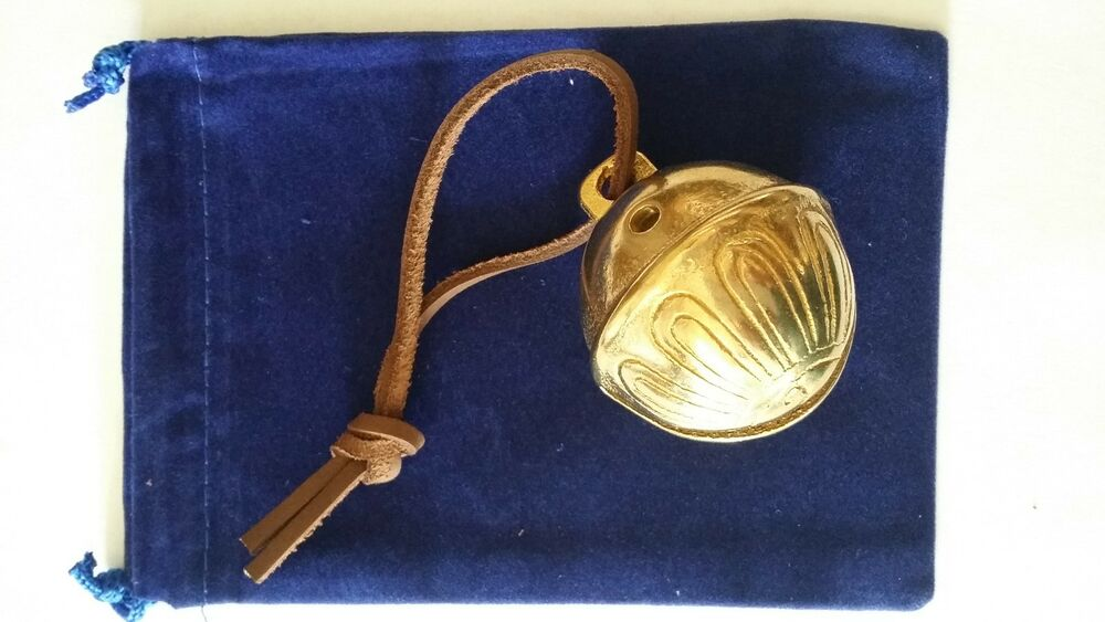 Polar Express Reindeer Bell 6 Solid Brass w Brown Leather Tie Royal ...