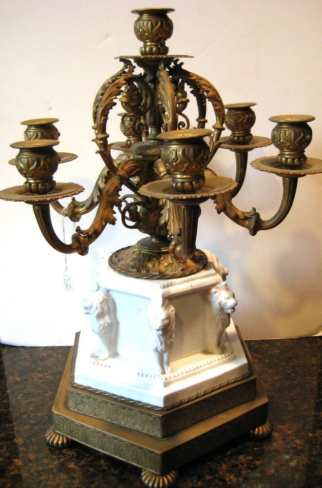 Antique figural french bronze amp bisque 6 arms candelabra center piece