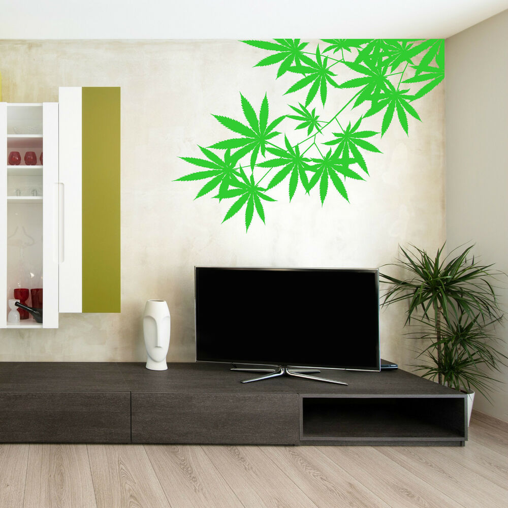 wall decals bedroom cannabis tree leaf plant skunk hash vinyl wall 13759