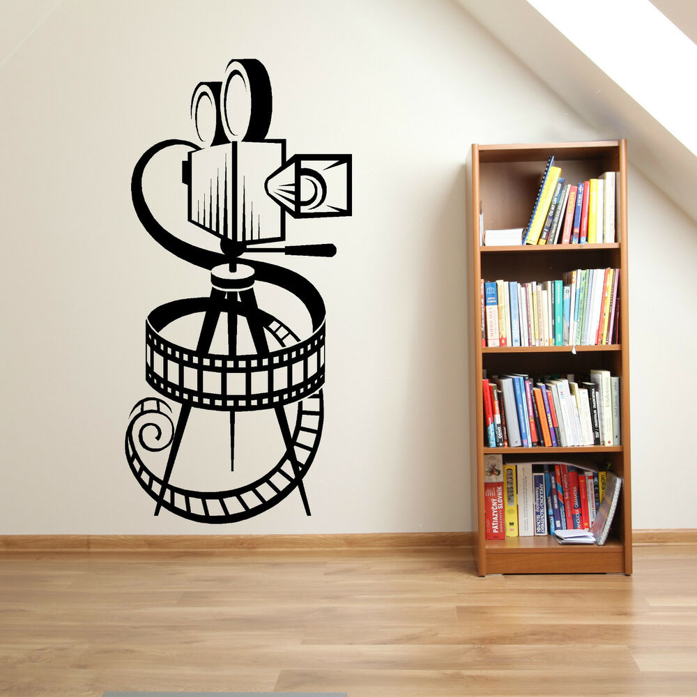 movie camera film reel home cinema vintage theatre vinyl wall art sticker decal ebay. Black Bedroom Furniture Sets. Home Design Ideas