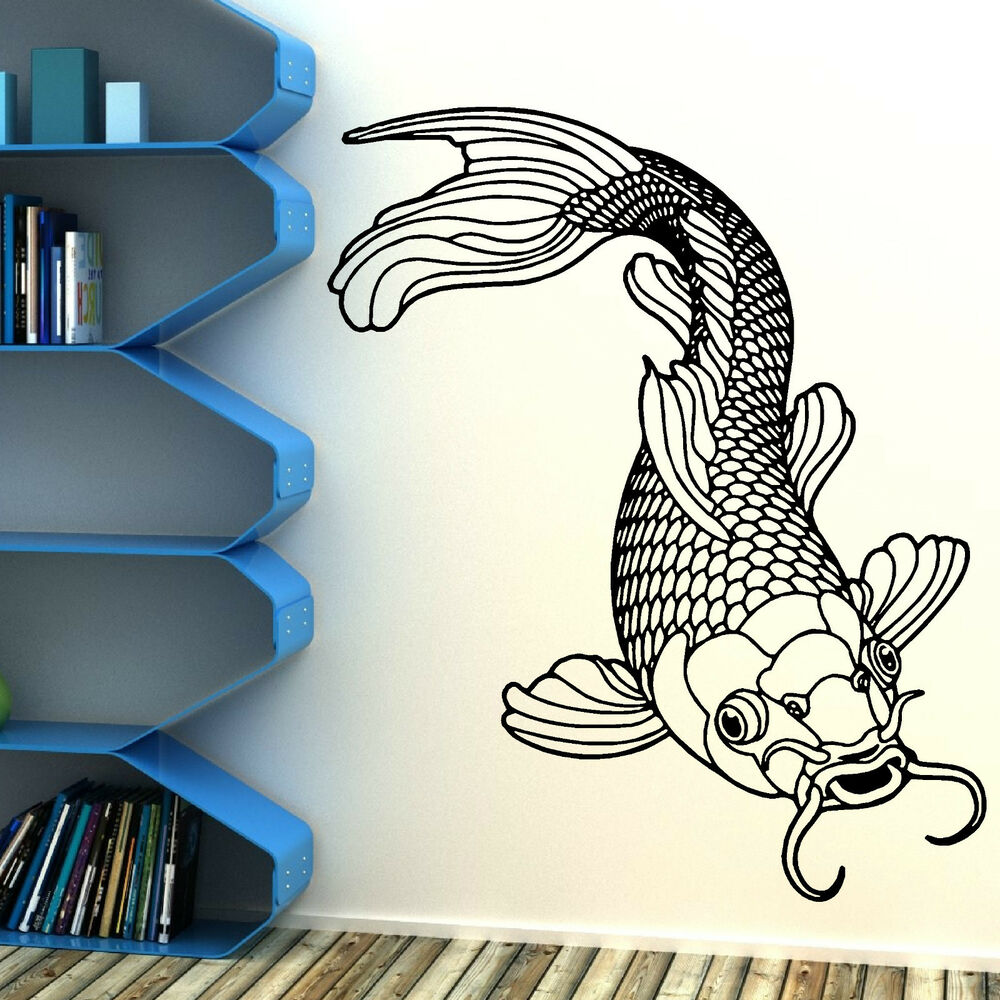 Koi carp fish chinese koi fishing vinyl wall art room for Koi fish wall decor
