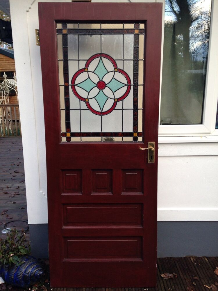 Stained glass front door 1930s wood reclaimed external for Old glass doors