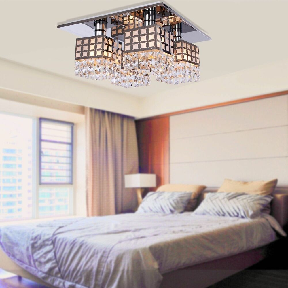 Crystal chandelier ceiling lamp lighting fixture pendant for Luminaire moderne chambre