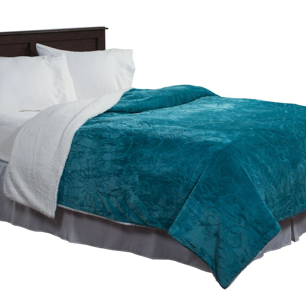 Plush And Soft Full Queen Floral Blanket With Cozy Sherpa