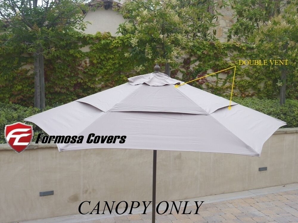 double vented replacement umbrella canopy 9ft 6 rib outdoor patio umbrella taupe ebay. Black Bedroom Furniture Sets. Home Design Ideas