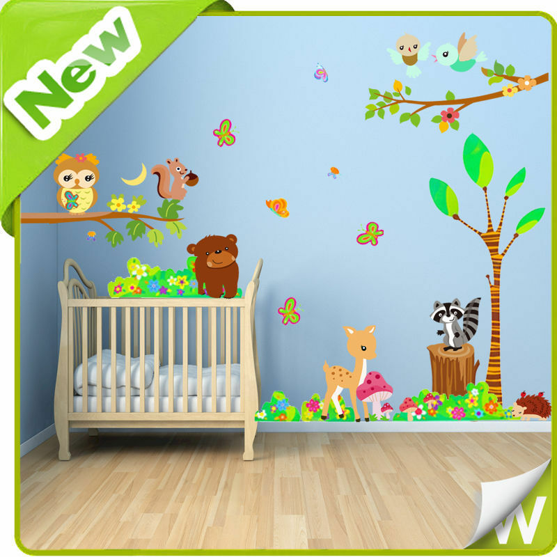 Animal wall stickers owl tree zoo jungle safari nursery for Baby jungle safari wall mural