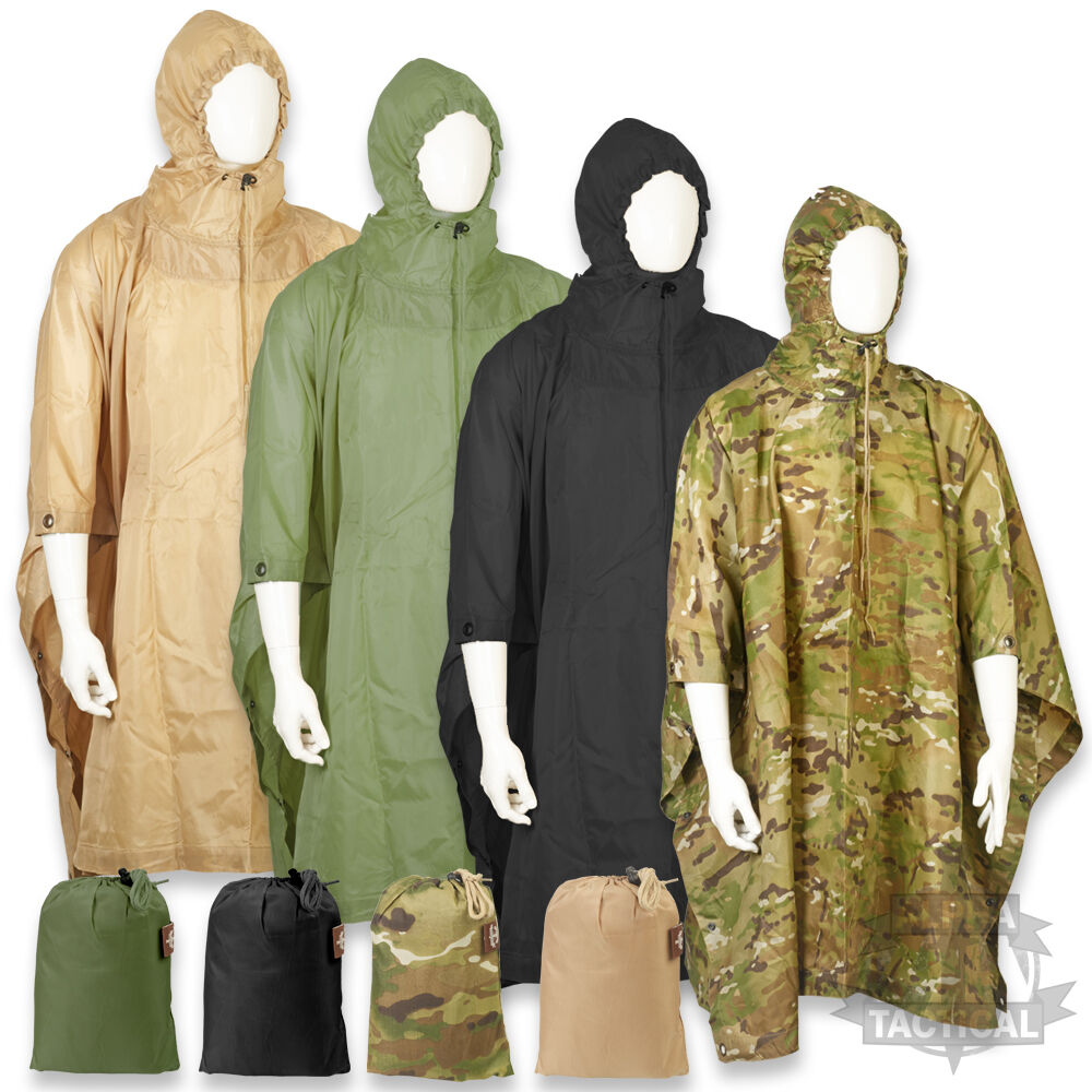 Waterproof Army Hooded Ripstop Festival Rain Poncho Military Camping Hiking