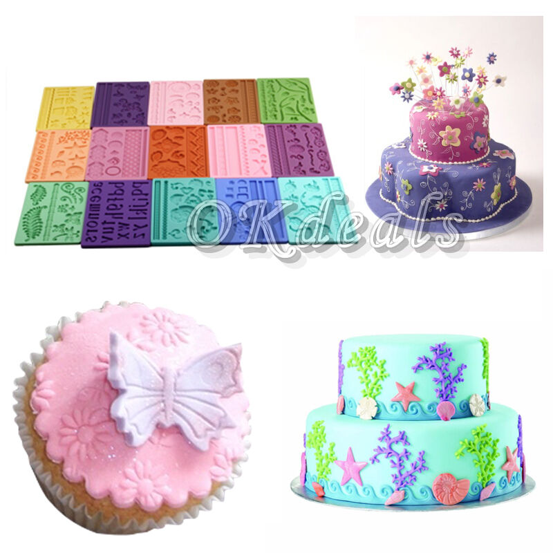 Types Of Cake Decorating : Sales Silicone Cake Mold 14 Types Embossing Paste Fondant ...