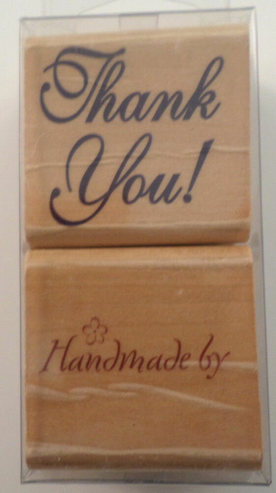 Stamp craft handmade by thank you wooden rubber stamp set for Custom craft rubber stamps