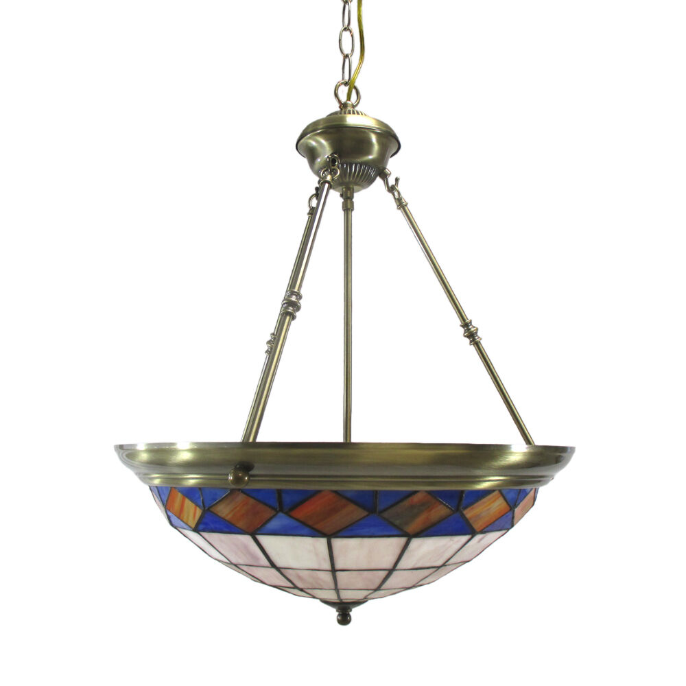 Chandelier Lighting Glass: Antique Brass And Leaded Stained Glass Chandelier/Pendant