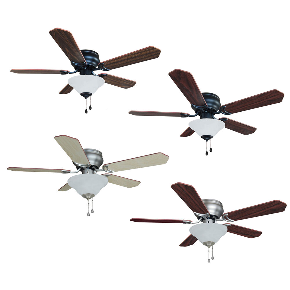 42 Inch Flush Mount Hugger Ceiling Fan W Light Kit Oil