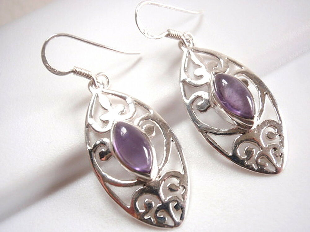 Amethyst Filigree Earrings Sterling Silver Dangle Corona