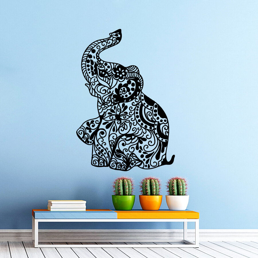 Elephant wall decals bedroom indian yoga vinyl decal sticker bohemian boho decor ebay - Elephant decor for living room ...