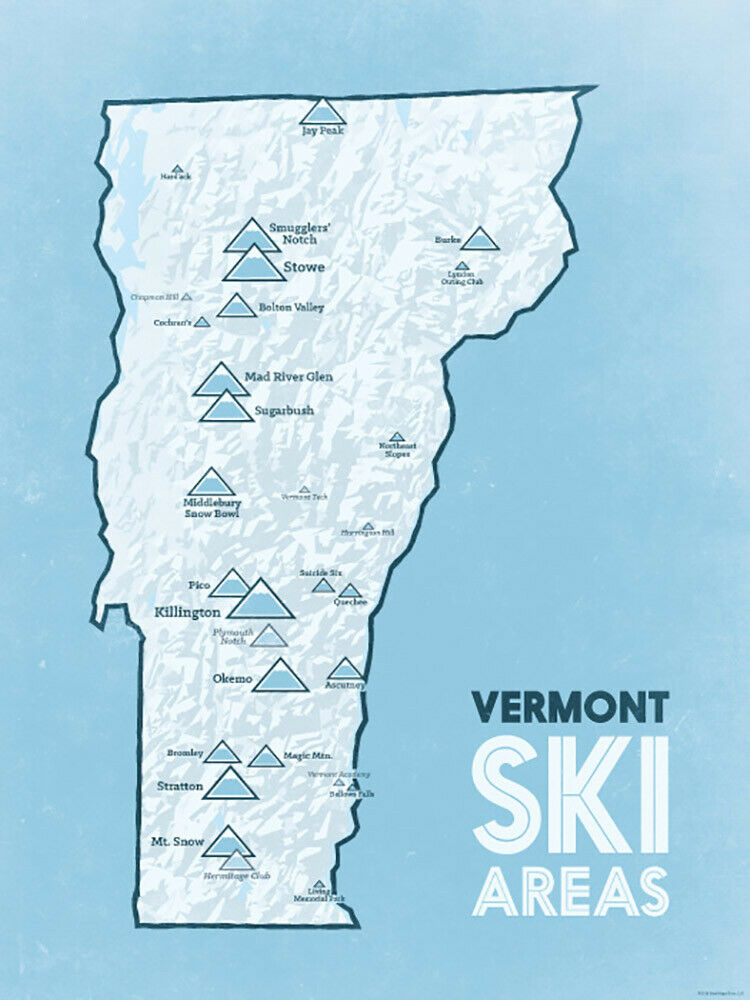 Vermont Ski Resorts Map 18x24 Poster White Amp Light Blue