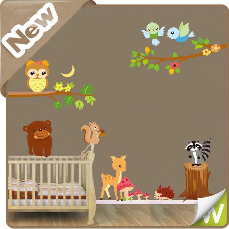 Animal wall stickers jungle zoo safari owl tree nursery for Baby jungle safari wall mural