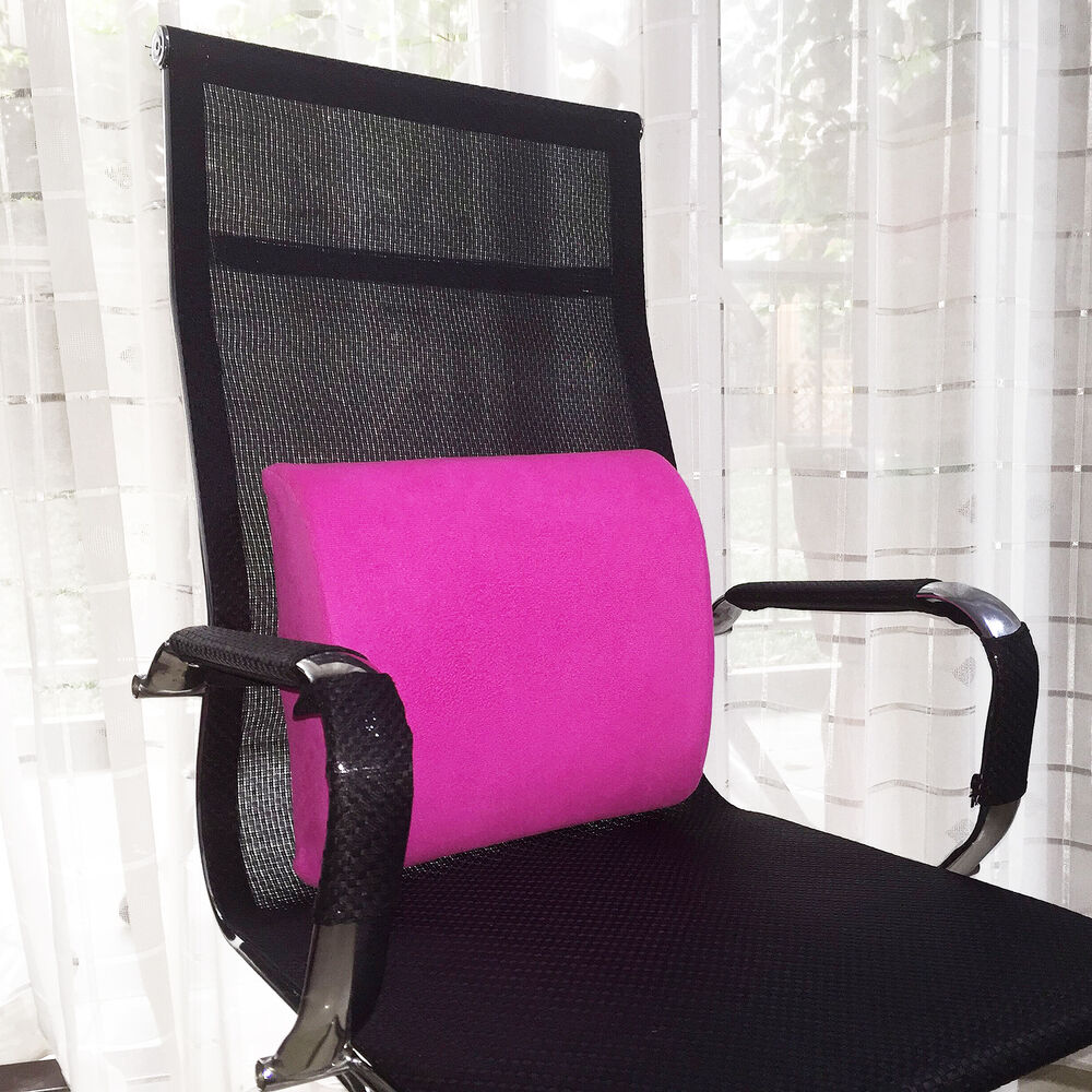 Back support memory foam lumbar cushion pillow home office chair car seat h pink ebay - Best back pillow for office chair ...