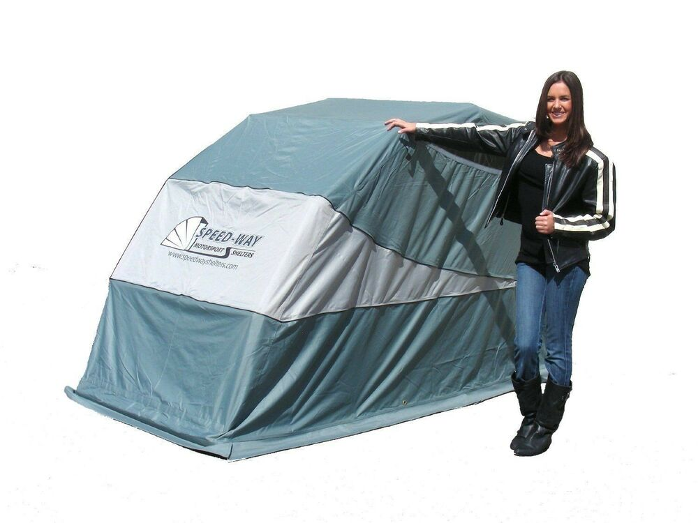 Speedway retractable motorcycle cover shelter harley touring metric models ebay - Motorcycle foldable garage tent cover ...