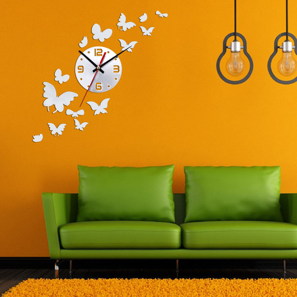 14pc Butterfly DIY Mirror Wall Clock Wall Sticker ...
