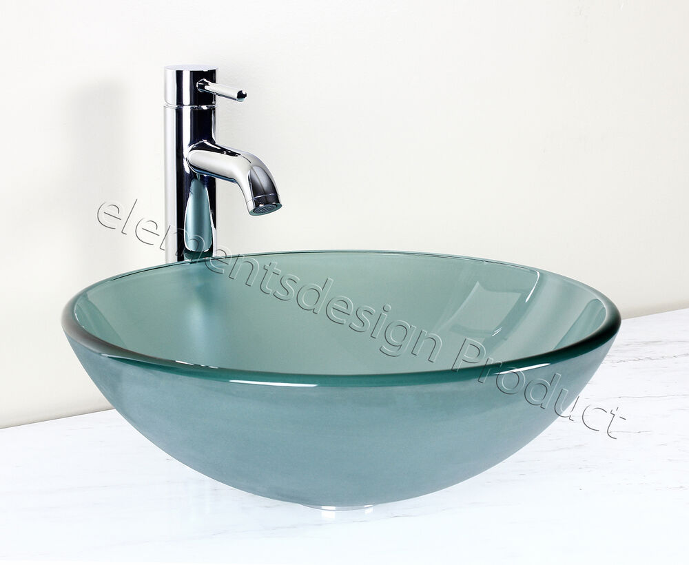 Bathroom frosted green glass vessel vanity sink chrome - Discount bathroom vanity and sink combo ...