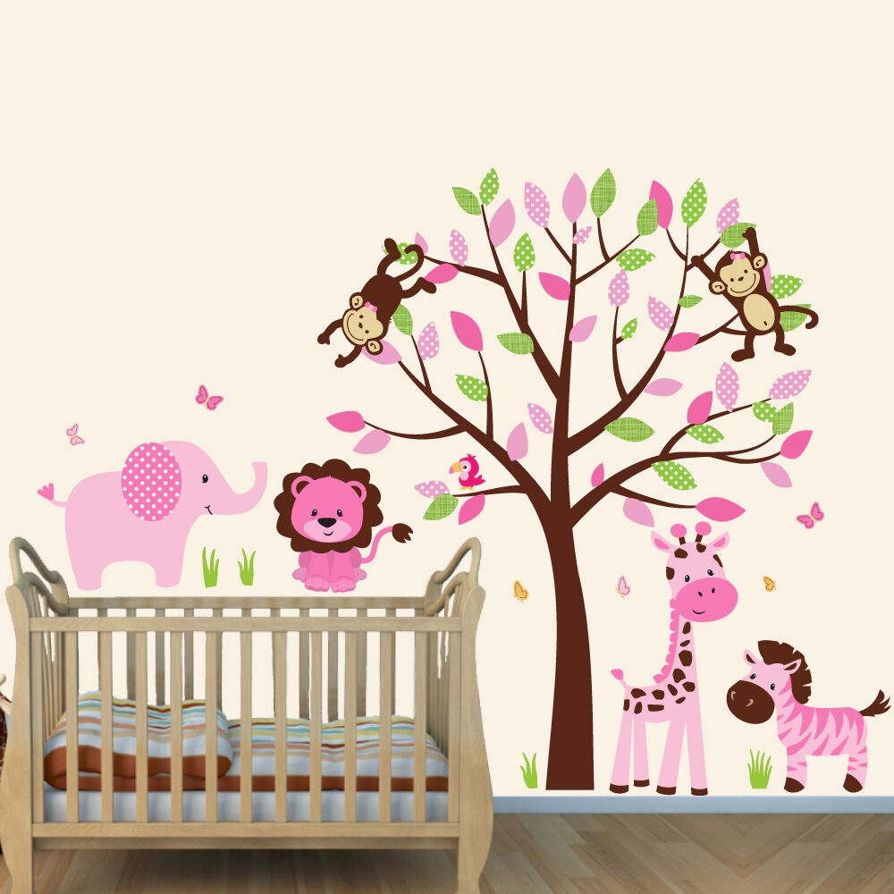 Animal With Tree Wall Decal Girls Room Decor Girl Nursery