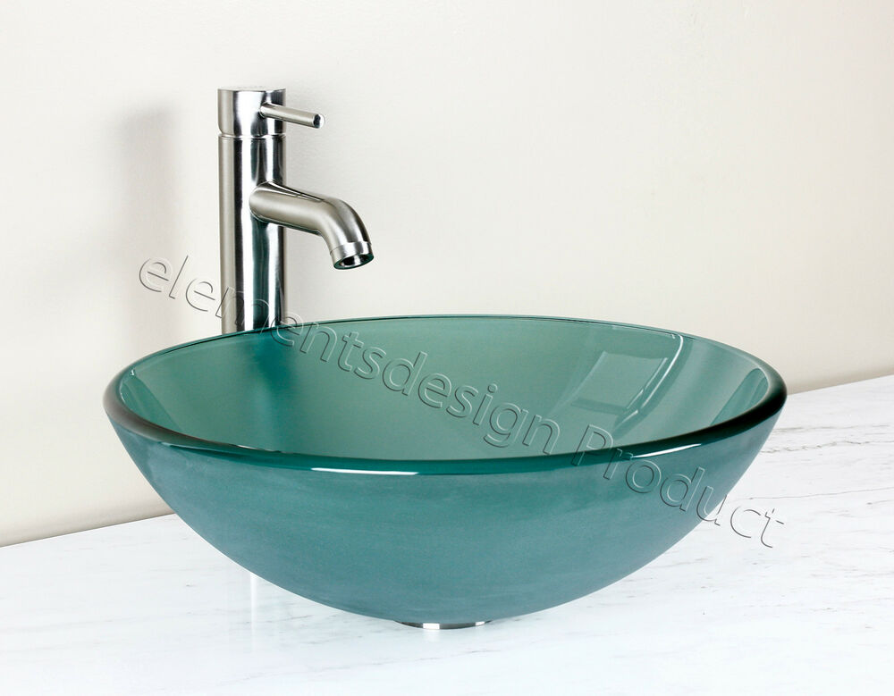 Bathroom Frosted Green Glass Vessel Vanity Sink Nickel Faucet Drain 12 2fn3 Ebay