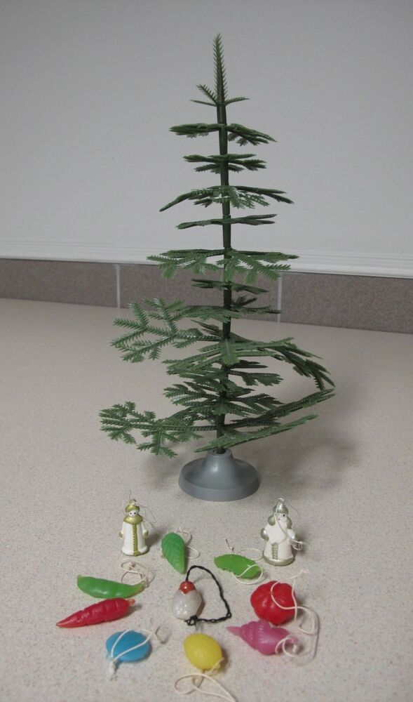 Russian christmas mini tree with decorations vintage for Miniature tree decorated with sea shells