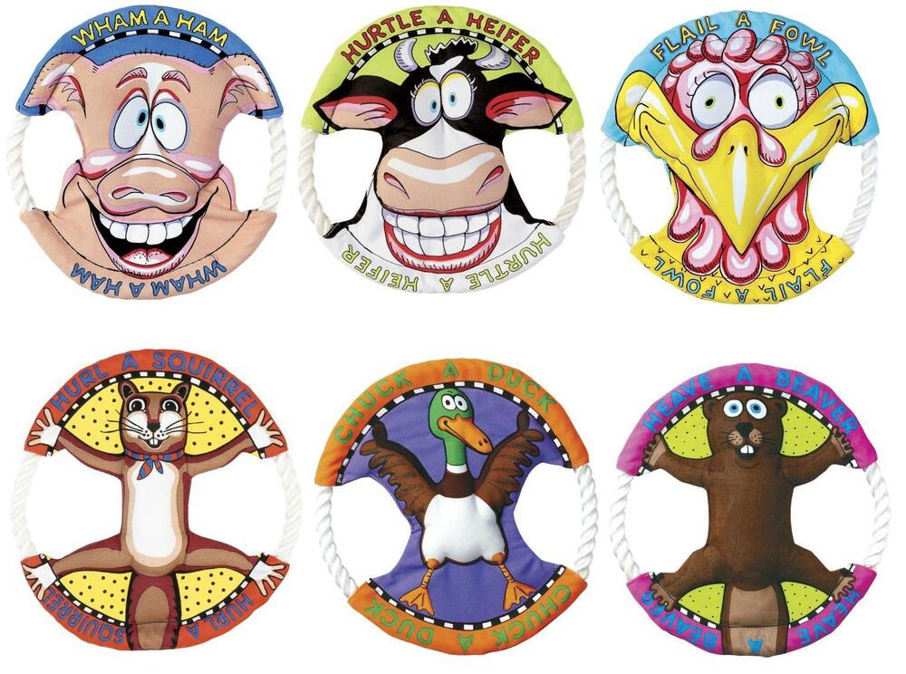 Fat Toy Dogs : Fat cat dog toy rings rope canvas flyer frisbee