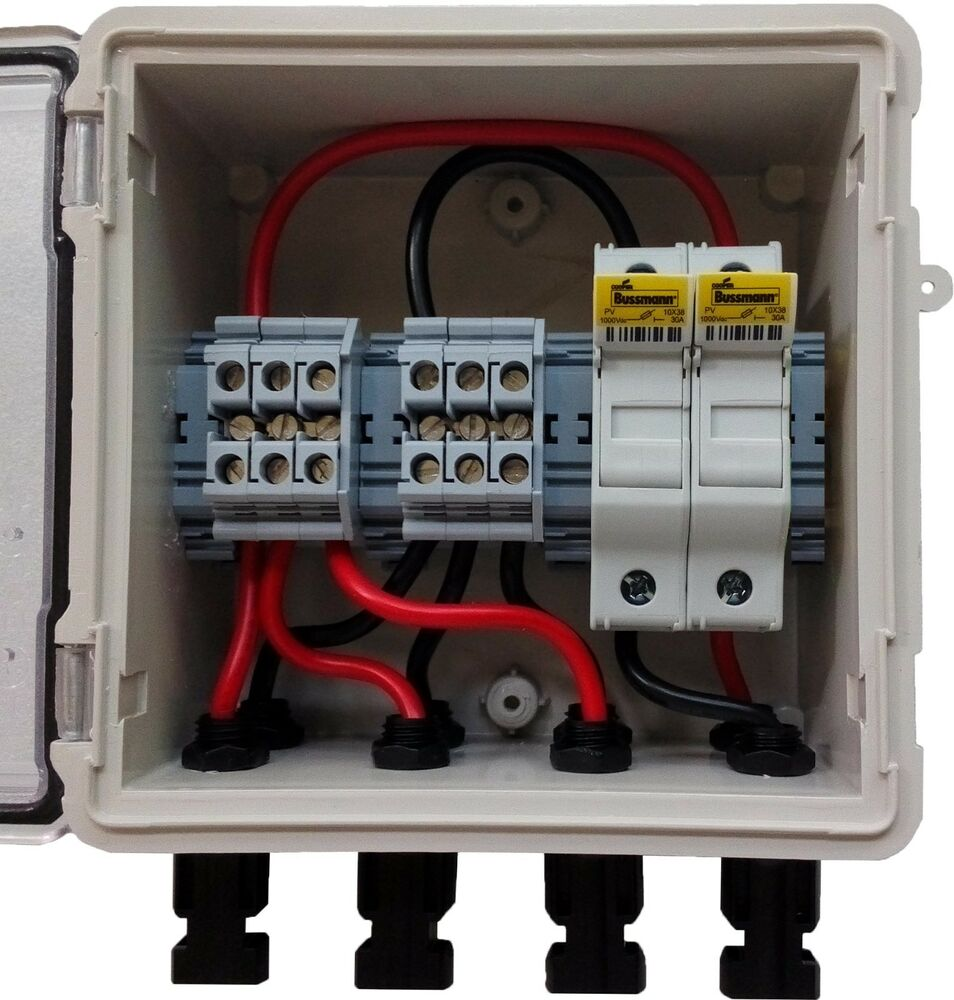 pv solar 3-string dc combiner box with 2 fuses