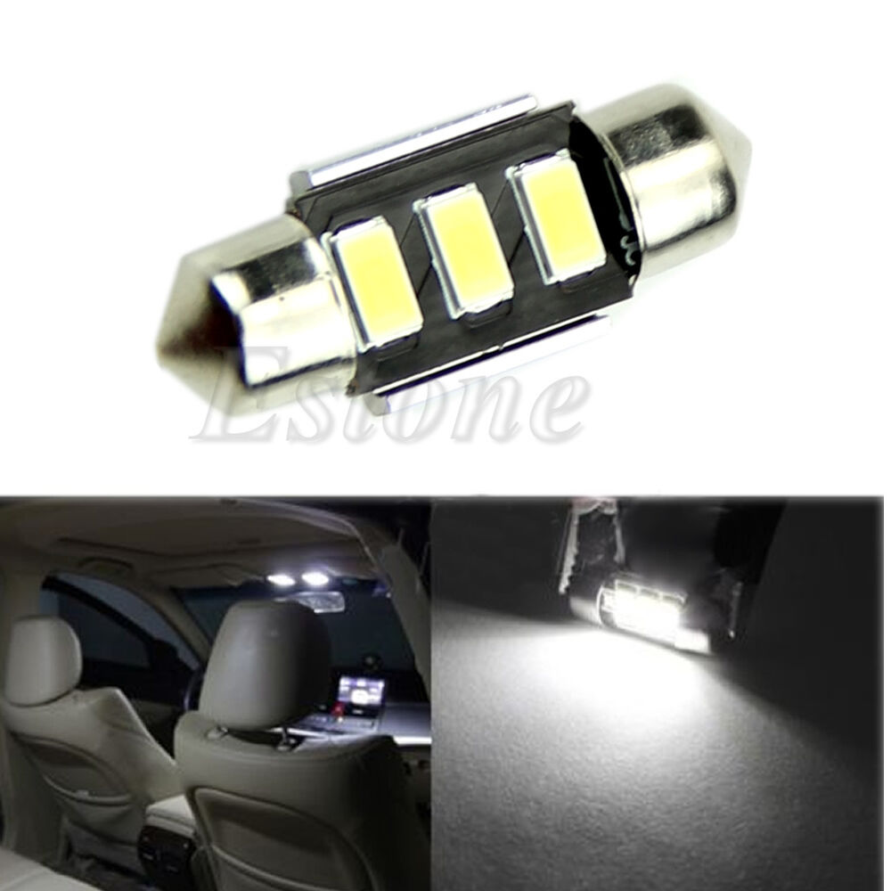 White 12v 5630 smd 3 led 31mm car interior festoon dome light roof lamp bulb ebay for Led car interior lights ebay