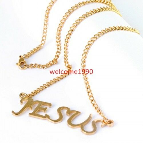 fashion gold plated jesus name necklace pendant stainless