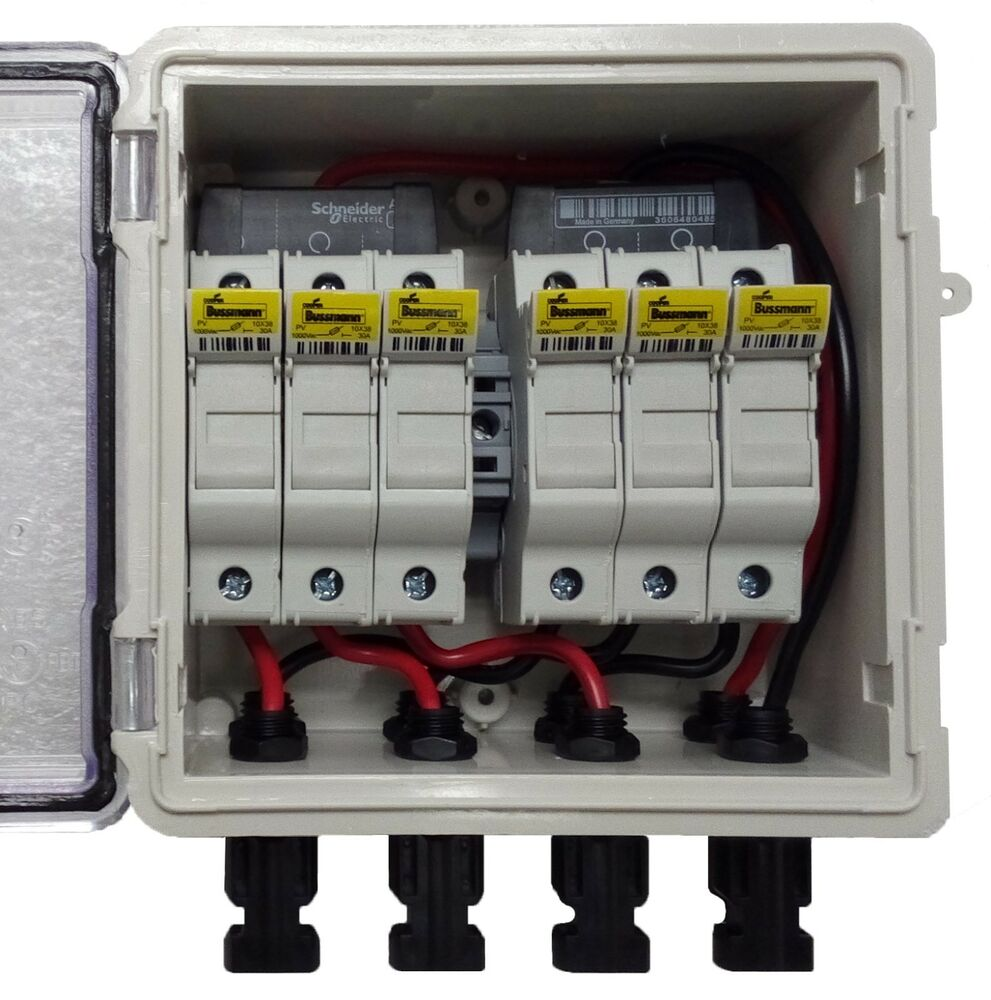 pv solar 3-string dc combiner box with 6 fuses