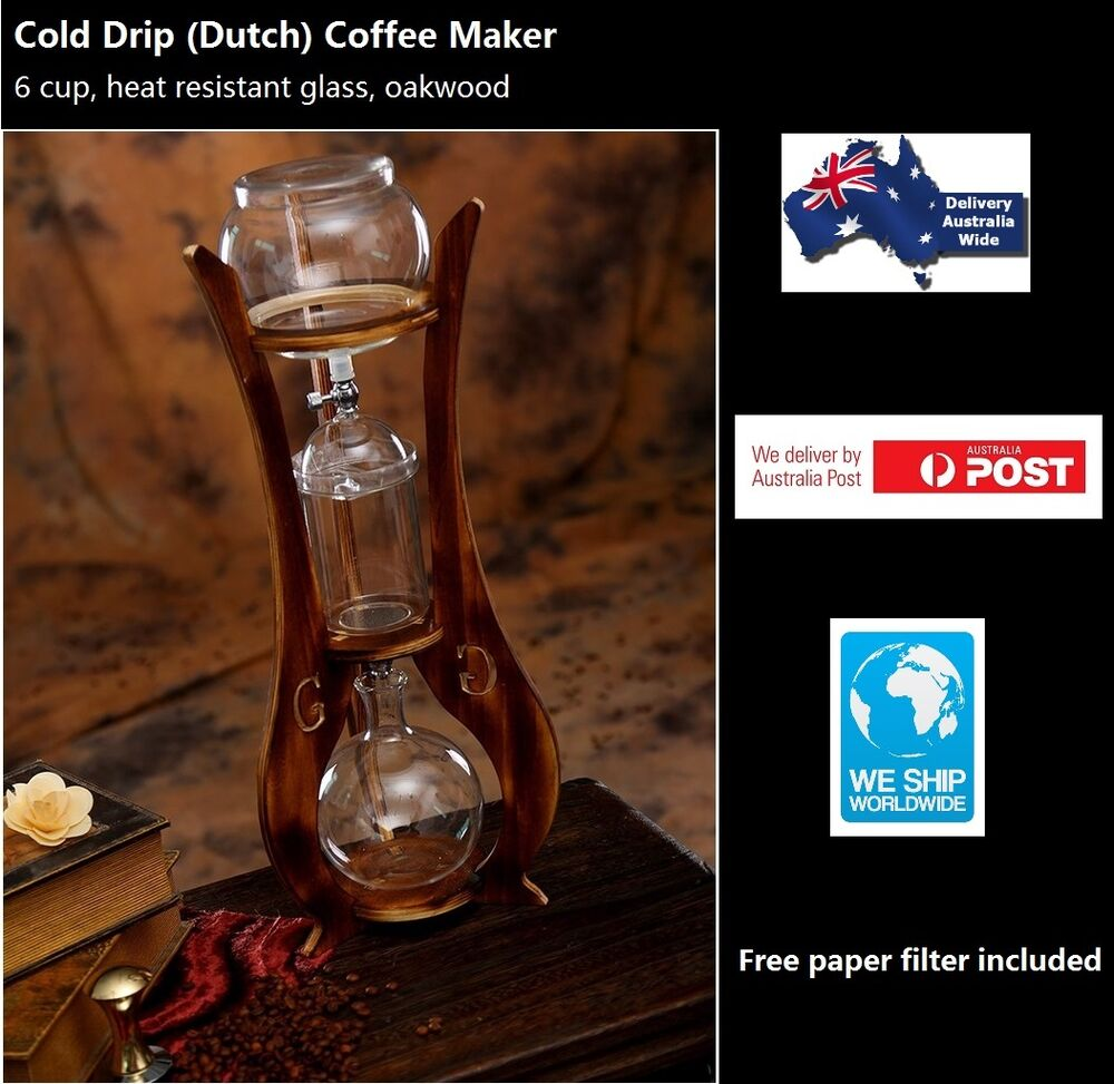 Drip Coffee Maker Meaning : Cold Drip Coffee Maker Oakwood 6 Cups Heat Resistant Glass BD-9 eBay
