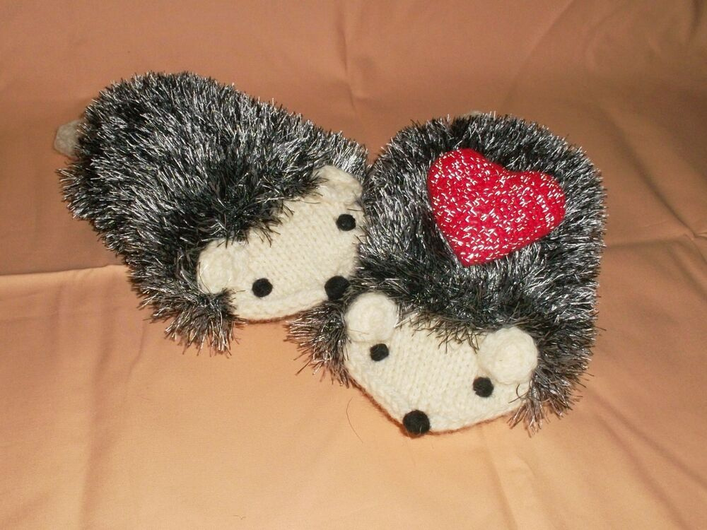 Knitting Pattern For Hedgehog Mittens : Hand Knit Hedgehog Mittens with Heart reflective ...